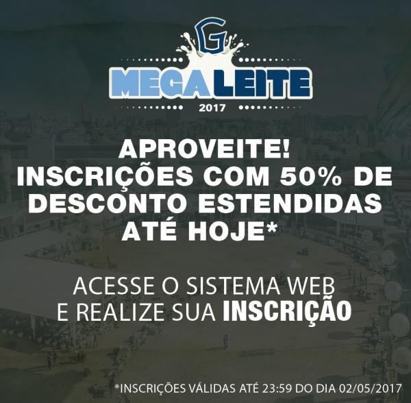 Megaleite: Inscrições com 50% vão até hoje